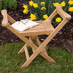 Jakie Teak Deluxe Outdoor Seat - The Jakie Outdoor Seat is made of teak wood and features raised arm rests for added stability and comfort. Folds up easily for trips to the beach or other outdoor activities.