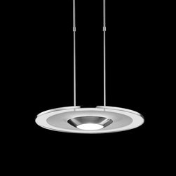 Estiluz - Bover | Mei Oval Wall Light - Design by Leonardo Marelli.Imported from Spain, by Estiluz.This low profile contemporary pendant light is supported by two telescoping rods. The pendant is equipped to work on sloped ceilings up to 30°. This fixture provides both direct and indirect lighting.