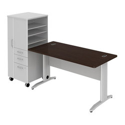 "Bush - Bush Sector 60"" Desk with File Locker in Mocha Cherry - Bush - office Sets - SEC025LSMR - Bring everyone together in open work environments and have a portable place for coats files papers and supplies. Bush SECTOR Series Suite 25SLAC in Mocha Cherry with 60""W x 60""D Rectangular Desk and 60""W Rectangular Work Surface plus 24""W LH Mobile Storage/File Locker let you spread out in style. Affordable workstation desks and work surfaces are easily reconfigurable. Metal-to-metal connections allow repeated attaching and detaching without joint fatigue. Includes two covered ports for cord and cable management. Four-gang USB hub allows quick connections for recharging phones or connecting peripherals. Go anywhere large lockable storage compartment includes convenient coat hook. Open work-in-progress trays with two adjustable shelves quickly organize papers and documents. Two box drawers for personal or office supplies. Secure lockable file drawer for letter- legal-and A4-size files. Easily moveable yet secure when positioned by two locking and two swivel casters. Attractive anodized Aluminum drawer pulls fit all decors. Straight-leg kit has raceway under desk front and back grommets and removable side leg panel to allow hiding of unsightly cords and cables. Rugged Diamond Coate top surface resists marking staining and abrasions. Includes Bush 10-year warranty. Includes Bush 10-year warranty."