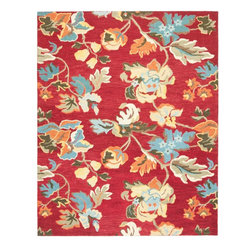 "Safavieh - Country & Floral Blossom 8'9""x12' Rectangle Red - Multi Area Rug - The Blossom area rug Collection offers an affordable assortment of Country & Floral stylings. Blossom features a blend of natural Red - Multi color. Hand Hooked of Wool the Blossom Collection is an intriguing compliment to any decor."