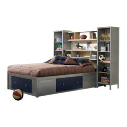 Hillsdale Furniture - Hillsdale Universal Storage Platform Bed w/ Bookcase Headboard and Wall Storage - The silver and navy Universal Youth bedroom offers super solutions for any kids room, whether you choose the traditional bed, the bookcase headboard with under bed storage, the loft bed or bunk beds. Add any combination of case goods to create the perfect home base for your child, tween or teen.