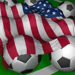 Wallmonkeys Wall Decals - 3d-rendering Usa Flag and Soccer-balls Wall Mural - 24 Inches W x 17 Inches H - Easy to apply - simply peel and stick!