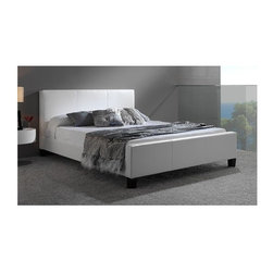 Leggett/Platt Fashion Bed - Euro Platform Bed in White (Full) - Choose Bed Size: FullBedding not included. Sleek European style. Durable soft synthetic leather upholstery. Made in Malaysia. Assembly required. Full: 86 in. L x 57 in. W x 36.75 in. H (109 lbs.). Queen: 91 in. L x 63 in. W x 36.75 in. H (118 lbs.). King: 91 in. L x 79 in. W x 36.75 in. H (136 lbs.)Easily coordinates with bedding and home decor. The euro bed does not require a box spring.