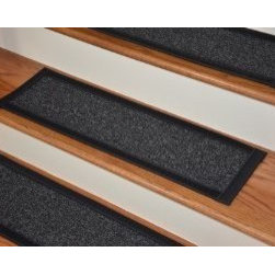"""Dean Flooring Company - Dean Premium Carpet Stair Treads - Manhattan Wool 29"""" x 9"""" (Set of 4) - Dean Premium Carpet Stair Treads - Manhattan Wool 29"""" x 9"""" (Set of 4) : Premium Wool Carpet Stair Treads by Dean Flooring Company Color: Manhattan Wool (Black) Material: 80% New Zealand Wool and 20% Cotton. Edges: Finished with wide black border. The size of each tread measures approximately 29"""" x 9"""". Helps prevent slips on your hardwood stairs. Great for helping your dog easily navigate your slippery staircase. Reduces noise. Reduces wear and tear on your hardwood stairs. Attractive: adds a fresh new look to your staircase. Easy DIY installation with double sided carpet tape or (not included - sold separately). WOOL is the traditional fiber used to make rugs, and it's no big mystery why. Besides being luxurious to the touch, wool can be dyed to beautiful rich colors, is fire-resistant, stain resistant, non-allergenic and holds up well over time. Also, wool is biodegradable and a renewable resource, making it a green choice as well as an elegant one. Add a touch of warmth and style to your home today with stair treads from Dean Flooring Company!"""