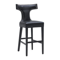 Leather Stool with Silver Nail, Black, Counter Height - Leather Stool with Silver Nail