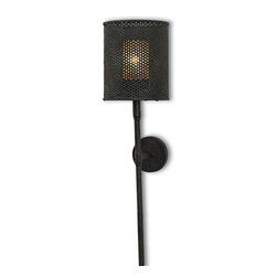 Currey and Company - Whitton Wall Sconce - Your sleek urban loft is the perfect backdrop for this industrial-looking wall sconce. The modern architecture works effortlessly with the simple, black torch and perforated metal shade.
