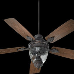 "Quorum Lighting - Quorum Lighting 52"" Georgia Patio Traditional Ceiling Fan X-449-525471 - A water glass diffuser is complimented by an elegant acorn shape and traditional finial, adding the right amount of interest to this Quorum Lighting ceiling fan. From the Georgia Collection, this traditional ceiling fan is UL wet listed with dark wood finished fan blades and your choice of two finishes."