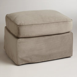 World Market - Mink Brown Velvet Loose-Fit Luxe Ottoman Slipcover - Designed for a casual, loose fit on our Luxe Ottoman, our easy-to-clean velvet slipcover refreshes the look of your living room affordably. Keep one slipcover on the ottoman and one stored away to manage life's little spills.