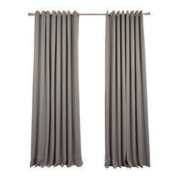 Exclusive Fabrics & Furnishings, LLC - Neutral Grey Grommet Doublewide Blackout Curtain - SOLD PER PANEL. 100% Polyester. Grommet. Unlined. Imported. Weighted Hem. Dry Clean Only.