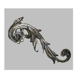 Hickory Manor House - Right Embellished Scroll in Gilt Silver Finis - Vintage original. Custom made by artisans unfortunately no returns allowed. Enhance your decor with this graceful scroll. Made in the USA. Made of pecan shell resin. 24 in. L x 9 in. W (6 lbs.)