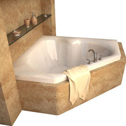 Spa World Corp - Atlantis Tubs 6060CAL Cascade 60x60x23 Inch Corner Air Jetted Bathtub - The cascade series bathtubs feature a three-cockpit cradle opening, rounded interior edges for safety and luxury, stylish design, and a standard corner installation. An airpool bathtub creates thousands of warm bubbles that stimulate the skin's light touch receptors, producing an overall calming effect. An air blower works like a giant hair dryer, taking the room temperature air, increasing it by approximately 30-degrees and blowing it through the bath. Air baths differ from a whirlpool in that the massage is much softer. Drop-in tubs have a finished rim designed to drop into a deck or custom surround. They can be installed in a variety of ways like corners, peninsulas, islands, recesses or sunk into the floor. A drop in bath is supported from below and has a self rimming edge that is designed to sit over a frame topped with a tile or other water resistant material. The trim for the air or water jets is featured in white to color match the tub.