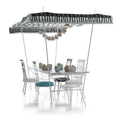 Party Large Dining Table with Canopy - Paola Navone's outdoor collection extends the look and comfort of indoor entertaining onto the patio, lawn or urban terrace. Versatile, weather-resistant pieces mingle fresh, unexpected shapes with easy comfort, capturing Paola's joyful spirit and love of entertaining.
