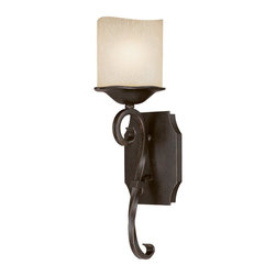 Capital Lighting - Capital Lighting Montana Transitional Wall Sconce X-502-MR1348 - The refined details of the backplate have been paired with a torch-style design on this unique Capital Lighting wall sconce. From the Montana Collection, the torch arm of the body features a twisted scrolling design and has been finished in an eye-catching Raw Umber hue. For added appeal, the candlelight glass shade features a softened, melted look.