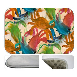Big Crab Party Plush Bath Mat , 30X20 - Bath mats from my original art and designs. Super soft plush fabric with a non skid backing. Eco friendly water base dyes that will not fade or alter the texture of the fabric. Washable 100 % polyester and mold resistant. Great for the bath room or anywhere in the home. At 1/2 inch thick our mats are softer and more plush than the typical comfort mats.Your toes will love you.