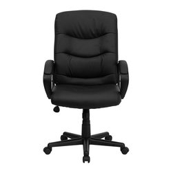Flash Furniture - Flash Furniture Mid Back Office Chair in Black - Flash Furniture - Office Chairs - GO9771BKLEAGG - Affordable leather computer chair will provide you with the comfort needed for browsing the internet. The mid-back design makes it a perfect desk chair especially for smaller work spaces but still doesn't compromise on its appeal and features. [GO-977-1-BK-LEA-GG]
