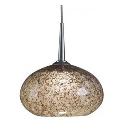 """Bruck Lighting - Laguna LED Pendant Light w Smoky Glass with Bubbles (Bronze No Canopy) - Finish: Bronze No Canopy. Pictured in Matte Chrome. Glass Color: Smoky Glass with Bubbles. Mounting: No Canopy. Energy efficient . 12V AC/DC Input * 700mA DC constant current output. 6A, 5W for 1 (3 Watt LED) Included * 3000K / 68 Ipw. Suitable for dry location only. Compatible with selected Bruck electronic transformers and must meet the minimum VA. Overall Dimensions: 3.2"""" H x 5.3"""" DiaThe Laguna 3 Watt LED Pendant with wire mesh accents. Uni-plug design allows Sierra 3 Watt LED pendant to be mounted on any lighting system through the use of an appropriate adaptor, not included. Standard cable length of 59""""."""