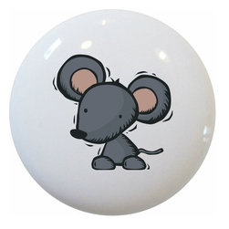 Carolina Hardware and Decor, LLC - Kid's Mouse Ceramic Knob - New 1 1/2 inch ceramic cabinet, drawer, or furniture knob with mounting hardware included. Also works great in a bathroom or on bi-fold closet doors (may require longer screws). Item can be wiped clean with a soft damp cloth. Great addition and nice finishing touch to any room!