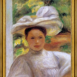 "Pierre Auguste Renoir-18""x24"" Framed Canvas - 18"" x 24"" Pierre Auguste Renoir Young Woman in a Hat framed premium canvas print reproduced to meet museum quality standards. Our museum quality canvas prints are produced using high-precision print technology for a more accurate reproduction printed on high quality canvas with fade-resistant, archival inks. Our progressive business model allows us to offer works of art to you at the best wholesale pricing, significantly less than art gallery prices, affordable to all. This artwork is hand stretched onto wooden stretcher bars, then mounted into our 3"" wide gold finish frame with black panel by one of our expert framers. Our framed canvas print comes with hardware, ready to hang on your wall.  We present a comprehensive collection of exceptional canvas art reproductions by Pierre Auguste Renoir."