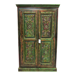 Floral Carved Wood Armoire Hand Painted Cabinet Indian Furniture - visit - http://www.mogulinterior.com