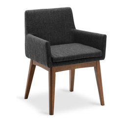 Bryght - 2 x Chanel Liquorice Cocoa Dining Armchair - Stunning good looks and comfort define the Chanel dining armchair. It's splayed leg design sets the stage for a mid century modern appeal to your interiors.