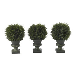 """9"""" Cedar Ball Topiary (Set of 3) - Diminutive, yet striking, this trio of classy Cedar Ball Topiaries stands at a delightful 9 """" tall, and adds a sense of that old-fashioned style to any location. Nestled snugly into their distinctive pedestals, the distinctive round shapes of these plants add a sense of """"fun """" and whimsy to any room. A must own for any true plant enthusiast. Height= 8.5 in x Width= 6 in x Depth= 6 in"""