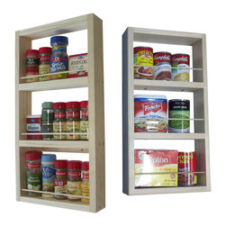 """WG Wood Products - Davis On-The-Wall Dual Depth Spice Rack Set 21/21 - Can be mounted on the wall, side of a cabinet, this item CANNOT be mounted on a hollow door.  Ships with white posterboard backer which will hide the wall behind the rack! Easy to mount with screws provided.  Dual Depth rack - one of each depth.  One unit's measurements are: Three 6"""" openings.  Measures 21""""h x 11""""w x 3.5""""d.  The other unit's measurements are:  Three 6"""" openings.  Measures 21""""h x 11""""w x 2.5""""d.  Natural pine finish can be painted or stained.  Proudly made in the USA."""