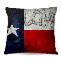 DiaNoche Designs - Pillow Woven Poplin from DiaNoche Designs - Love for Texas - Toss this decorative pillow on any bed, sofa or chair, and add personality to your chic and stylish decor. Lay your head against your new art and relax! Made of woven Poly-Poplin.  Includes a cushy supportive pillow insert, zipped inside. Dye Sublimation printing adheres the ink to the material for long life and durability. Double Sided Print, Machine Washable, Product may vary slightly from image.