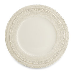 Arte Italica - Finezza Cream Charger - Set your formal table with this ceramic charger plate, hand made in Italy. The border motif of lavish lace will impress your guests with its elegance and grace.
