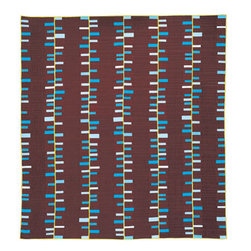 Run & Fall, Chocolate Queen Quilt - Chocolate brown and blue is one of my favorite color combinations, especially when paired in things like this fun geometric quilt.