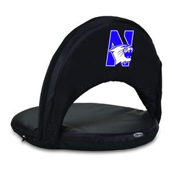 Picnic Time - Northwestern University Oniva Seat Recreational Reclining Seat Black - When you need a recreational reclining seat that's lightweight and portable, the Oniva Seat is for you. It has an adjustable shoulder strap and six adjustable positions for reclining. The seat cover is made of polyester, the frame is steel, and the seat is cushioned with high-density PU foam, which provides hours of comfortable sitting. The bottom of the seat is black so as not to soil easily. The Oniva Seat is great for the beach, the park, gaming and boating.; College Name: Northwestern University; Mascot: Wildcats; Decoration: Digital Print