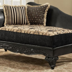 Chelsea Home - Upholstered Chaise - Includes toss pillows. Traditional style. Fringe, contrasting with paisley pattern pillows. Sofa in bi-cast ebony fabric over high-density cover. Pillow in Monte carlo ebony cover. Seating comfort: Medium. Plush, rolled arms. Attached back and Dacron wrapped foam seat cushions. Zippered cushions. 8.5 gauge medium loop sinuous springs spaced 5 in. apart. 1.8 density foam with 0.75 of fiber wrapping. Ornately carved wood trim. Fabric contains: 100% polyester. Made from mixed hardwoods and plywood. Made in USA. No assembly required. Seat: 46 in. L x 25.5 in. W x 22 in. H. Overall: 65 in. L x 32 in. W x 36 in. H (85 lbs.)The Chelsea Home Furniture Gwendolyn Collections brings sense of Victorian elegance to any living room area. This beautiful set, by Chelsea Home Furniture, epitomizes Chelseas legendary reputation for quality and comfort.