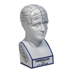 Authentic Models 11.5H in. Phrenology Head Sculpture - You may not be able to judge anyone's personality by it, but the Authentic Models 11.5 in. Phrenology Head Sculpture makes a fun bookend or desktop decoration. Made of porcelain with detailed painting, this piece makes a fun gift.About Authentic ModelsAuthentic Models strives to create and distribute a comprehensive collection of historic and fine art reproductions worldwide. Haring Piebenga founded the company in 1968, and today AM is a European wholesale manufacturer with warehouses and corporate offices in Oregon and Amsterdam. AM pursues original items at auctions and uses these models for their design ideas. Each hand-made item appeals to the human need for nostalgia, intrigue, and beauty by evoking a story from the past. High-quality construction using only the finest materials ensures that these charming pieces will become treasured heirlooms in their own right.