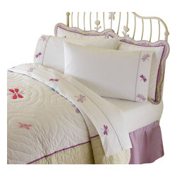 Pem America - Dragonfly Butterfly Queen Sheet Set - Butterflies and dragonflies dance are featured in the Dragonfly Butterfly Sheet Set. Includes: 1 flat sheet to fit a queen size bed. 1 fitted sheet to fit a queen size bed. 2 standard pillowcases. 200 thread count 100% cotton sheeting material with embroidered hem treatments. Care Instructions: Machine wash cold/gentle, do not bleach, tumble dry low.