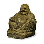 China Furniture and Arts - Prosperity Happy Buddha - He is a symbol of happiness, wealth and an innocent contented joy. Buddha's belly is said to signify bountiful wealth and prosperity. By stroking it, it is believed to bring much luck. The laughing Buddha must always be invited into his new home, resulting in positive Chi and much happiness in return. Casted from concrete with vintage limestone finish.