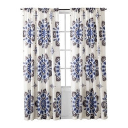 Mudhut Medallion Window Panel, Blue/ Brown - Pretty curtains at a window with a soft, warm breeze blowing through — heaven.