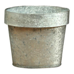 """Galvanized Oval Container - 9"""" x 5.5"""" - An unconventional narrowing of the rim gives the Galvanized Oval Container an unusual elongated shape that makes it easy to be creative in designing your container gardens and cachepot displays. Made from galvanized tin, this planter mimics the lipped shape of the simple garden pot, but the unusual choice of material adds the weathered edge of metallic texture to your look."""