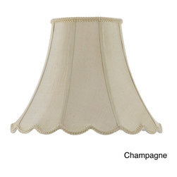 None - Cal Lighting 18-Inch Vertical Piped Scallop Bell Shade - This beautiful vertical piped basic bell shade features delicate fabric construction and is available in champagne, white and eggshell colors. This shade features expert craftsmanship and stylish luxury.