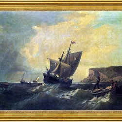 """William Bradford-16""""x24"""" Framed Canvas - 16"""" x 24"""" William Bradford Fishermen in an Approaching Storm framed premium canvas print reproduced to meet museum quality standards. Our museum quality canvas prints are produced using high-precision print technology for a more accurate reproduction printed on high quality canvas with fade-resistant, archival inks. Our progressive business model allows us to offer works of art to you at the best wholesale pricing, significantly less than art gallery prices, affordable to all. This artwork is hand stretched onto wooden stretcher bars, then mounted into our 3"""" wide gold finish frame with black panel by one of our expert framers. Our framed canvas print comes with hardware, ready to hang on your wall.  We present a comprehensive collection of exceptional canvas art reproductions by William Bradford."""