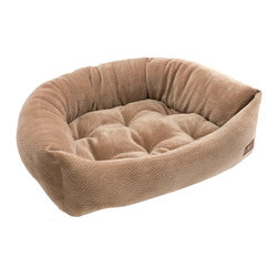 Jax & Bones - Jax & Bones Ripple Velour Napper Bed Camel X-Large - An original design by Jax and Bones! An oval bolster bed that is perfect for dogs that like to lean, curl, or cuddle. Fabric is made from a high performance micro-denier plush velvet with 2 removable inserts for easy care. Offered in 4 sizes and inevitably the softest and favorite dog bed your pet will ever have!
