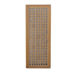 Golden Lotus - Oriental Geometric Pattern Solid wood Decorative Wall Panel - This oriental panel is made of solid elm and has geometric pattern. It is a nice wall decor for any rooms.