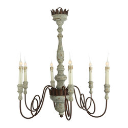 """Aidan Gray - Aidan Gray Mumaw Chandelier L147 CHAN - Reaching over 36"""" tall, this elegant chandelier comes with 6 arms, cleverly curled to add interest to the overall look. Once installed, you may need to pull and push on the arms and candle base to bring them into perfect alignment if you desire them to stand straight up."""