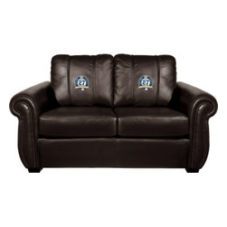 Dreamseat Inc. - New York Yankees MLB 27th WS Logo Chesapeake BROWN Leather Loveseat - Check out this awesome Loveseat. It's the ultimate in traditional styled home leather furniture, and it's one of the coolest things we've ever seen. This is unbelievably comfortable - once you're in it, you won't want to get up. Features a zip-in-zip-out logo panel embroidered with 70,000 stitches. Converts from a solid color to custom-logo furniture in seconds - perfect for a shared or multi-purpose room. Root for several teams? Simply swap the panels out when the seasons change. This is a true statement piece that is perfect for your Man Cave, Game Room, basement or garage.
