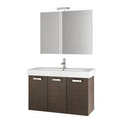 ACF - 40 Inch Wenge Bathroom Vanity Set - Set Includes: Vanity Cabinet (3 Doors), high-end fitted ceramic sink, wall mounted vanity mirror.