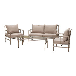 Great Deal Furniture - Piepes 4-piece Outdoor Sofa Seating Set - Made of genuine steel pipes the Piepes 4-piece Outdoor Sofa Seating Set has an unmistakable aesthetic design for classy modern homes. The Piepes set combines a modern, angular pipe frame with the convenience of outdoor cushions. This truly a unique design brought to you by Great Deal Furniture designers will be a focal point in any outdoor decor.