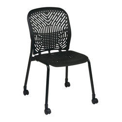 Space - Deluxe SpaceFlex Visitors Chair in Black - Se - Ideal for casual meetings, this castered visitors chair will bring elements of both comfort and style to your office decor. Enhanced by a SpaceFlex seat and back that adjust to each person's body and movement, the chair is finished in black and sold in a set of two. Set of 2. Black finish frame with casters. Self adjusting SpaceFlex seat and back. Seat: 18 in. W x 18 in. D. Back: 18 in. W x 19 in. H. 21.5 in. W x 22.5 in. L x 35 in. H (33 lbs.)