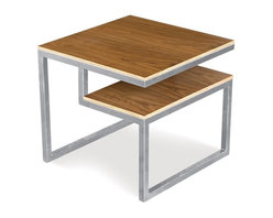 Gus Modern - Gus Modern Ossington End Table Walnut Ply with Stainless Steel Base - Bring geometric simplicity to your living room with this streamlined stainless steel and walnut end table. The exposed plywood surface is perfect for setting drinks down, and the shelf underneath provides attractive storage for your favorite coffee table books or design magazines.
