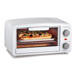 Hamilton Beach - PS XL White ToasterOvenBroiler - This Extra-Large White Toaster/Oven/Broiler from Proctor-Silex easily fits four slices of toast or two personal pizzas.  It includes a bake pan and broil function for cooking and warming versatility.  It features a 15 minute timer with auto shutoff and ready bell and a drop-down crumb tray for easy cleanup.   .