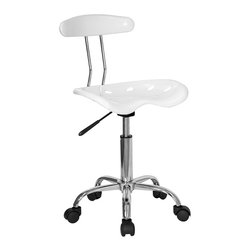 "Flash Furniture - Mobile Task Chair with Molded Seat and Back - Whether it's for the workplace, home office, or student's desk, this amazingly affordable desk chair is an excellent choice.  Fun as well as functional, it features high-density polymer tractor-style seat that's super comfortable and adjusts easily with the one-touch gas lift lever.  Use it anywhere, as the dual wheel casters roll easily on hardwood, tile, or even carpeted floors.  This chair looks awesome in the pure white and chrome finish as shown, or choose one of the many vibrant colors. White and Chrome computer task chair. Extremely unique and comfortable molded ""Tractor"" seat. 5.5 in. Height range adjustment. Pneumatic gas lift. High density polymer construction on tractor seat and back. Chrome base. Dual wheel carpet casters. Seat: 17 in. W x 15 in. D. Seat Height: 20 1/4 in. - 25 3/4 in. H. Back: 14 in. W x 10.5 in. H. Overall: 17 in. W x 16.5 in. D x 29 1/4 in. - 34 3/4 in. H (11 lbs.)"