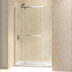 "BathAuthority LLC dba Dreamline - Vitreo-X Frameless Pivot Shower Door, 58 - 58 3/4"" W x 72"" H, Brushed Nickel - The Vitreo-X shower door delivers a modern frameless design for the high end look of custom glass at an incredible value. The elegant pivot mechanism provides a flawless operation, while premium 3/8 in. thick tempered glass delivers a rich look. Smart wall profiles allow installation adjustability for out-of-plumb walls. Bring on the style with the impressive look of a Vitreo-X shower door."