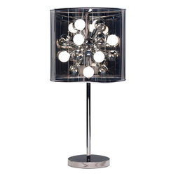 Adesso - Adesso 3260-22 Starburst Table Lamp - Make a fitting display with an Adesso Starburst Floor Lamp. Made of metal with a chrome stick pole and flat round base with a dark gray tinted translucent shade, reminiscent of a film negative. The PVC drum shade is also reflective and surrounds a 4-inch chrome center.  About Adesso  Adesso was established in 1994, with the vision and belief that consumers who sought high-end contemporary home products at affordable prices would be able to do so. �Adesso has been able to redefine residential spaces with its innovative, well-designed and well priced products. They have integrated an array of colors and materials in the design of their products to include renewable bamboo, cork, glass, resin, woven fabric, rice-paper and even metals.� Adesso is shaping the future of home design and they�re driven by the simple idea that your home is a canvas.